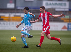 Forfar Athletic's Jamie Bain  and East Fife's Pat Slattery. Forfar Athletic 3 v 0 East Fife, Scottish Football League Division One game played 2/3/2019 at Forfar Athletic's home ground, Station Park, Forfar.