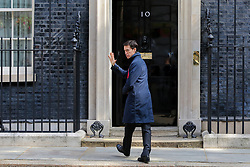 © Licensed to London News Pictures. 18/06/2019. London, UK. Secretary of State for International Development and Conservative Party leadership contender Rory Steward gives a wave to the media as he enters No 10 Downing Street for the weekly Cabinet meeting. Photo credit: Dinendra Haria/LNP