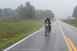Dave Volnek of Nebraska rides through a heavy downpour on his 1913 Indian during the Motorcycle Cannonball Race of the Century. Stage-7 from Springfield, MO to Wichita, KS. USA. Friday September 16, 2016. Photography ©2016 Michael Lichter.