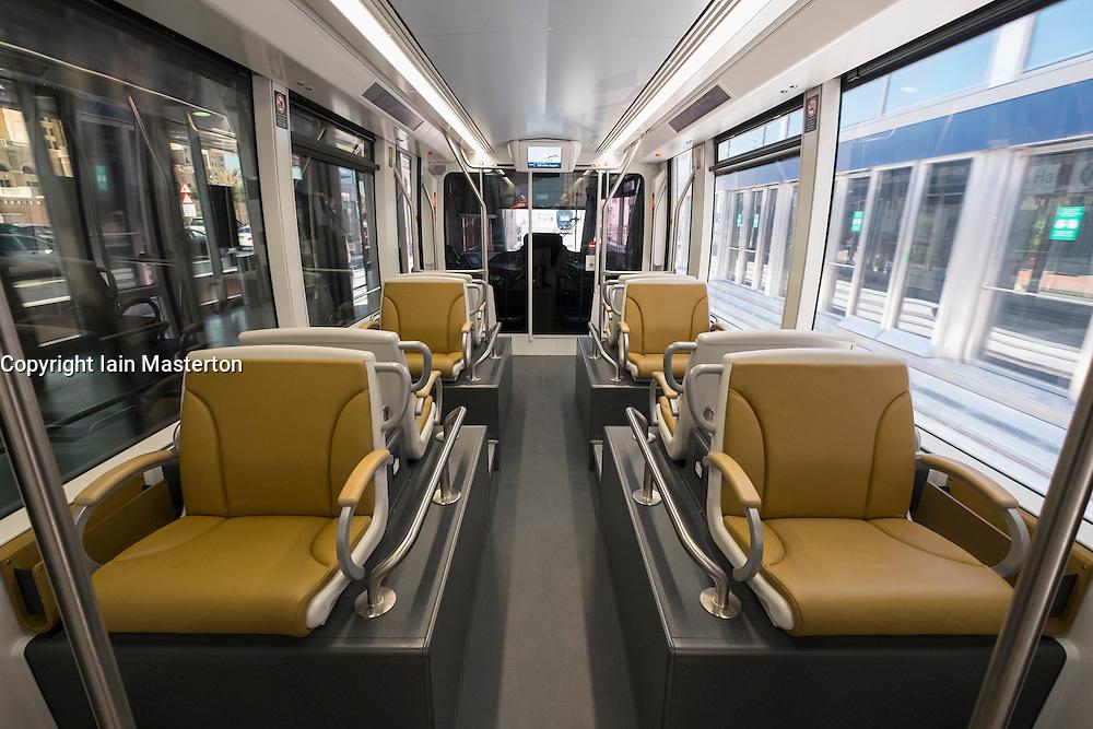 Interior of Gold Class carriage of tram on new Dubai Tram system in Marina district of Dubai United Arab Emirates