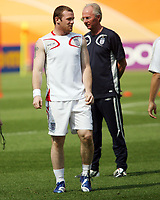 Photo: Chris Ratcliffe.<br />England Training Session. FIFA World Cup 2006. 14/06/2006.<br />Wayne Rooney in training is watched by Sven Goran Eriksson.