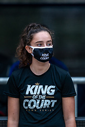 Court crew with mouth mask during the last day of the beach volleyball event King of the Court at Jaarbeursplein on September 12, 2020 in Utrecht.