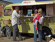Old Citroen van creperie selling crepes at Woodbridge maritime event, Suffolk, England, UK