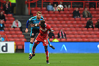 Fleetwood Town's Cian Bolger vies for possession with Bristol City's Tammy Abraham<br /> <br /> Photographer Ashley Crowden/CameraSport<br /> <br /> Emirates FA Cup Third Round - Bristol City v Fleetwood Town - Saturday 7th January 2017 - Ashton Gate - Bristol<br />  <br /> World Copyright © 2017 CameraSport. All rights reserved. 43 Linden Ave. Countesthorpe. Leicester. England. LE8 5PG - Tel: +44 (0) 116 277 4147 - admin@camerasport.com - www.camerasport.com