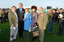 Left to right, CHARLIE BROOKS, the HON.HARRY HERBERT, LADY LLOYD WEBBER, LADY EMMA KITCHENER-FELLOWES and LORD FELLOWES at the 2014 Hennessy Gold Cup at Newbury Racecourse, Newbury, Berkshire on 29th November 2014.  The Gold Cup was won by Many Clouds ridden by Leighton Aspell.