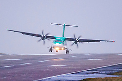 © Licensed to London News Pictures. 29/02/2020. Leeds UK. A Aer Lingus aircraft struggles with the strong winds while attempting to land at Leeds Bradford airport this morning as Storm Jorge begins to batter the uk bringing with it expected winds of up to 60mph & further rain & snow. Photo credit: Andrew McCaren/LNP