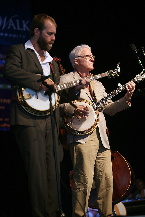 BREVARD, NC - SEPTEMBER 12 : Steve Martin performs with the  Steep Canyon Rangers in the Mountain Song Festival at The Brevard Music Center on September 12, 2009,  in Brevard, North Carolina, USA. (Photo by Logan Mock-Bunting/Getty Images)