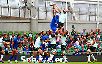 Rugby Union - 2019 pre-Rugby World Cup warm-up - Ireland vs. Italy<br /> <br /> Dean Budd (c) (Italy) spoils the lineout attempt from Devin Toner (Ireland) at The Aviva Stadium.<br /> <br /> COLORSPORT/KEN SUTTON