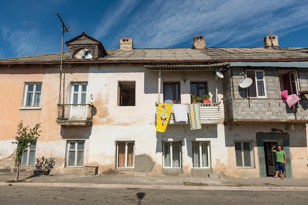 A towel featuring SpongeBob SquarePants hangs to dry from an apartment balcony in Stepanakert, capital of the disputed region of Nagorno Karabakh, also known as Artsakh. Closely allied with Armenia, the region is claimed by Azerbaijan.<br /> <br /> (September 22, 2016)
