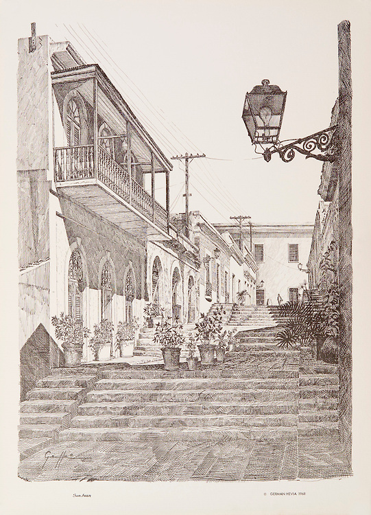 "Cat. #22 - Lithographic print of Pen and Ink drawing of a street in old San Juan, Puerto Rico known as Calle de las escaleras (Street of stairs), better known as the Hospital Alley, XVII century. This print is part of a series printed on antique colored paper.<br /> Paper size is 11 1/8 x 15 1/4"". Image size is approximately 10 x 13 1/2"" <br /> Cat. #22 - Impresión litográfica de un dibujo a plumilla de la Calle de las Escaleras, mejor conocida como Callejon del Hospital, siglo XVII, Viejo San Juan, Puerto Rico. Esta impresión es parte de una serie impresa en papel estilo antiguo.<br /> Tamaño del papel es11 1/8 x 15 1/4"". Tamaño de la imagen es aproximadamente 10 x 13 1/2"""