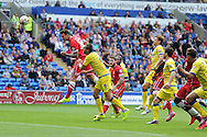 Sean Morrison of Cardiff city (36) scores his teams 1st goal with a header.  Skybet football league championship match, Cardiff city v Sheffield Wed at the Cardiff city stadium in Cardiff, South Wales on Saturday 27th Sept 2014<br /> pic by Andrew Orchard, Andrew Orchard sports photography.