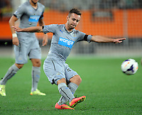 Newcastle United's Adam Armstrong against Sydney FC in the first match of the Football United Tour at Forsyth Barr Stadium, Dunedin, New Zealand, Tuesday, July 22, 2014.