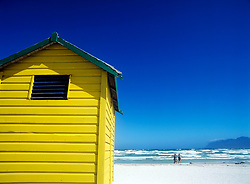 Yellow beach hut, Muizenburg beach, Cape Town, South Africa (Credit Image: © Axiom/ZUMApress.com)