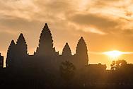 Angkor Wat at sunrise, at Angkor Archaeological Park in Siem Reap, Cambodia.