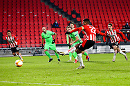 Denzel Dumfries of PSV Eindhoven scores his sides second goal from the penalty spot during the UEFA Europa League, Group E football match between PSV and Omonia Nicosia on December 10, 2020 at Philips Stadion in Eindhoven, Netherlands - Photo Perry vd Leuvert / Orange Pictures / ProSportsImages / DPPI