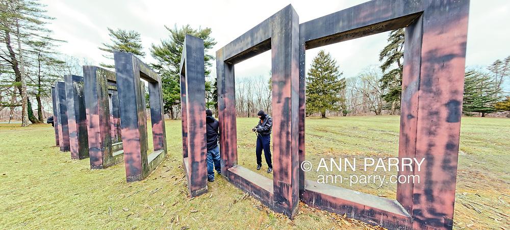 Roslyn Harbor, New York, U.S. February 12, 2012. Long Island Photowalk photographers explore Allen Bertoldi outdoor sculpture 'Redbank 31 - Nassau Variation, at Nassau County Museum of Art.