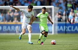 Sergio Aguero of Manchester City battles for the ball with Jack Cork of Swansea City  - Mandatory by-line: Alex James/JMP - 15/05/2016 - FOOTBALL - Liberty Stadium - Swansea, England - Swansea City v Manchester City - Barclays Premier League