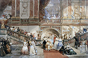 Ball at the Hotel de Ville' c1860. Watercolour. Eugene Lami (1800-1890) French painter. Marble staircase with guests attending fashionable ball in Paris. Music Orchestra  Opulence Society Entertainment