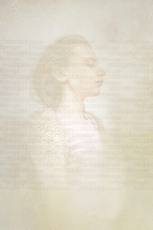 Portrait of Emma Kahane in profile with pale textures