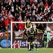 Columbus Crew SC players celebrate their 2-1 aggregate victory at the final whistle during the New York Red Bulls Vs Columbus Crew SC, Major League Soccer Eastern Conference Championship, second leg, at Red Bull Arena, Harrison, New Jersey. USA. 29th November 2015. Photo Tim Clayton