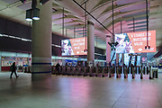 Visibly quiet at Canary Wharf Underground station on 19th March 2020 in London, United Kingdom. More people are working from home and Tranport for London are running a reduced tube and bus service in London in an effort to delay the spread of the  coronavirus.