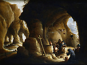 'The Temptation of St Anthony'. St Anthony keeps his eyes focused on the Cross to divert him from his tormentors. Attributed to Abraham Teniers (1629-1670).   Private collection.