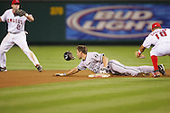 ANAHEIM - OCTOBER 16:  Scott Podsednik #22 of the Chicago White Sox steals second base in the seventh inning during Game 5 of the American League Championship Series against the Los Angeles Angels of Anaheim at Angels Stadium on October 16, 2005 in Anaheim, California.  The White Sox defeated the Angels 6-3.