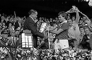 07/09/1986<br /> 09/07/1986<br /> 7 September 1986<br /> All-Ireland Senior and Minor Hurling Finals at Croke Park, Dublin.<br /> Presentation of the Senior Hurling Final 1986 Cup