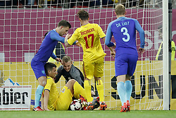 (L-R) Joel Veltman of Holland, George Tucudean of Romania, goalkeeper Jasper Cillessen of Holland, Eric Bicfalvi of Romania, Matthijs de Ligt of Holland during the friendly match between Romania and The Netherlands on November 14, 2017 at Arena National in Bucharest, Romania