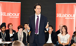 © London News Pictures. GRAVESEND. UK. 04/05/2011Leader of the Labour Party, Ed Milliband, visits Northfleet Girls School for a public question and answer session ahead of local elections and the AV referendum. Picture credit should read Manu Palomeque/LNP