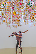 Marcia Milhazes Dance Company première GUARDE - ME, a new performance piece under Gamboa II (2015-2016) -  'Rio Azul' by Beatriz Milhazes at White Cube Bermondsey. Her first solo show in London for almost a decade features new paintings, installation, sculpture, collage and live performance, as well as her first ever tapestry.