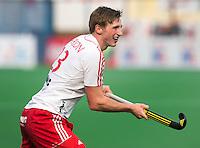 NEW DELHI - Tom Carson van Engeland tijdens de derde poulewedstrijd in de finaleronde van de Hockey World League tussen de mannen van Engeland en Nieuw-Zeeland. ANP KOEN SUYK