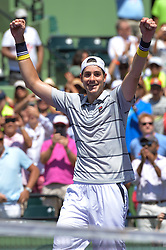 March 30, 2018 - Miami, FL, United States - KEY BISCAYNE, FL - MARCH 30: John Isner (USA defeats Juan Martin Del Potro (ARG) at  61 76(2) in action during day 12 of the 2018 Miami Open held at the Crandon Park Tennis Center on March 29, 2018 in Key Biscayne, Florida.   Credit: Andrew Patron/Zuma Wire (Credit Image: © Andrew Patron via ZUMA Wire)