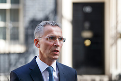 © Licensed to London News Pictures. 10/05/2017. London, UK. Nato Secretary General JENS STOLTENBERG speaks to members of press after his meeting with British Prime Minister Theresa May in Downing Street, London on Wednesday, 10 May 2017. Photo credit: Tolga Akmen/LNP