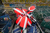 lobster traps and pier, bass harbor maine
