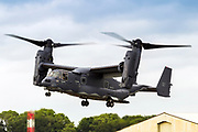 USMC Bell Boeing V-22 Osprey is an American multi-mission, tiltrotor military aircraft with both vertical takeoff and landing (VTOL), and short takeoff and landing (STOL) capabilities. It is designed to combine the functionality of a conventional helicopter with the long-range, high-speed cruise performance of a turboprop aircraft. Photographed at Royal International Air Tattoo (RIAT)