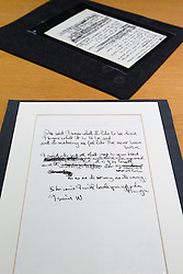 "© Licensed to London News Pictures. 22/05/2013. London, UK. The original lyrics to the Beatles song 'She Said She Said' (foreground) and 'In My Life' are seen after being presented to the British Library by Beatles biographer Hunter Davies in London today (22/05/2013). The manuscripts, along with others and correspondence between John Lennon and Mr Davies, have been donated to the library under the ""lifetime giving"" scheme. Photo credit: Matt Cetti-Roberts/LNPPhoto credit: Matt Cetti-Roberts/LNP"