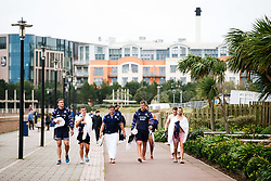 Sam Jeffries, Billy Searle, Nick Fenton-Wells, Joe Batley and Andy Uren look on as Bristol Rugby take part in a morning after game recovery session in the sea - Rogan/JMP - 29/10/2017 - RUGBY UNION - Jersey Marine Lake - St Helier, Jersey - Jersey Reds v Bristol Rugby - Greene King IPA Championship.