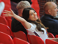 Football - 2021 UEFA European Championships - Finals - Group D - Czech Republic vs England - Wembley Stadium<br /> <br /> Leeds and England player, Kalvin Phillips girlfriend - Ashleigh Behan waves to him from the stands<br /> <br /> Credit : COLORSPORT/ANDREW COWIE