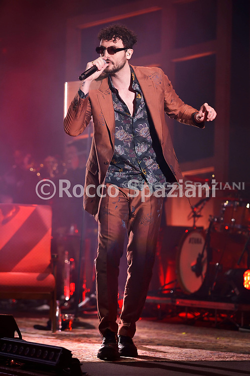 Carl Brave perform on stage on March 31, 2019 in Rome, Italy.