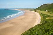 Rhossili beach, Gower peninsula, near Swansea, South Wales, UK