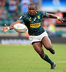 South Africa's Siviwe Soyizwapi during day two of the HSBC London Sevens at Twickenham Stadium, London. PRESS ASSOCIATION Photo. Picture date: Sunday June 3, 2018. See PA story RUGBYU Sevens. Photo credit should read: Adam Davy/PA Wire. RESTRICTIONS: Editorial use only. No commercial use.