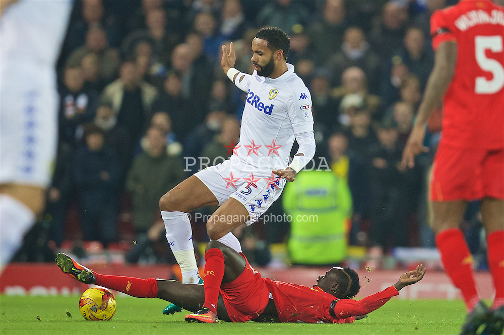 LIVERPOOL, ENGLAND - Tuesday, November 29, 2016: Liverpool's Sadio Mane in action against Leeds United's Kyle Bartley during the Football League Cup Quarter-Final match at Anfield. (Pic by David Rawcliffe/Propaganda)