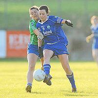 21 November 2010; Maria Kelly, West Clare Gaels, Clare, in action against Michelle Allen, St Conleth's, Laois. Tesco All-Ireland Intermediate Ladies Football Club Championship Final, West Clare Gaels, Clare v St Conleth's, Laois, McDonagh Park, Nenagh, Co. Tipperary. Picture credit: Diarmuid Greene / SPORTSFILE *** NO REPRODUCTION FEE ***