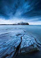 Dramatic early winter landscape on Lake Champlain, Vergennes, Vermont