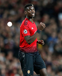 Manchester United's Paul Pogba during the UEFA Champions League, Group H match at Old Trafford, Manchester. PRESS ASSOCIATION Photo. Picture date:  Tuesday October 2, 2018. See PA story SOCCER Man Utd. Photo credit should read: Martin Rickett/PA Wire. RESTRICTIONS: Use subject to restrictions. Written editorial use only. No commercial use.