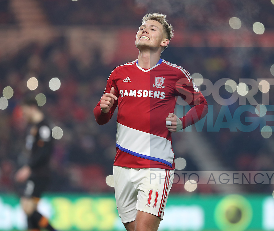 Viktor Fischer of Middlesbrough after missing on goal during the English Premier League match at Riverside Stadium, Middlesbrough. Picture date: December 5th, 2016. Pic Jamie Tyerman/Sportimage