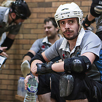 South Wales Silures take on Barrow Infernos in the Men's Tier 1 Roller Derby British Championships at the George H Carnall Sports Centre, Urmston, Greater Manchester, UK, 2016-06-20