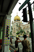 View of Masjid Sultan (Sultan Mosque) from North Bridge Road.