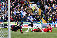 Sheffield Wednesday striker Gary Hooper (14) shoots at goal during the Sky Bet Championship match between Sheffield Wednesday and Cardiff City at Hillsborough, Sheffield, England on 30 April 2016. Photo by Ellie Hoad.